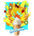 paper cut fruit ice cream poster template vector image
