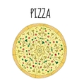 Pizza drawing Postcard pizza hand drawing vector image