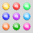 Rent icon sign symbol on nine wavy colourful vector image vector image