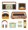 retro radio electronic technology 80s telephone vector image vector image