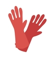 Rubber red gloves cartoon flat icon vector image