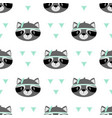 seamless pattern raccoon isolated on white vector image
