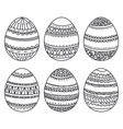 set of easter eggs with geometric pattern vector image