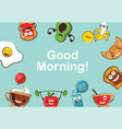 set of funny breakfast food icons cartoon face vector image vector image