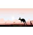 silhouette kangaroo in evening vector image