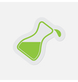 simple green icon flask with a drop vector image vector image