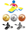 Sport icon design for kayaking and medals vector image vector image