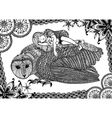 The barn owl girl and pattern vector image vector image