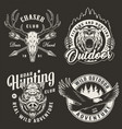 vintage monochrome hunting club logos vector image vector image