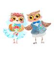 Watercolor cute owls vector image