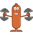 Weightlifting Sausage Cartoon vector image vector image