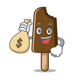 with money bag chocolate ice cream character vector image vector image
