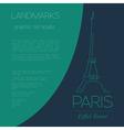 World landmarks Paris France Eiffel tower Graphic vector image vector image