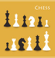 chess figures big set black and white vector image