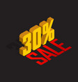 30 percent off sale golden-yellow object 3d vector image vector image