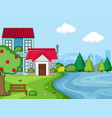 a simple house landcape vector image