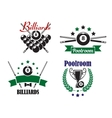Billiards or Poolroom game badges or emblems vector image vector image