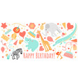 Birthday greeting banner with funny animals