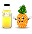 bottle of pineapple juice with cute pineapple vector image vector image