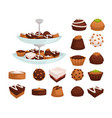 cakes and cookies or candies with chocolate or vector image vector image