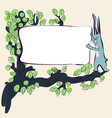 cartoon cute rabbit on grass with banner vector image vector image