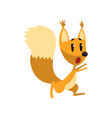 cartoon frightened squirrel character running vector image vector image