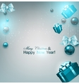 Christmas background with gifts and blue balls vector image vector image
