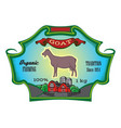 color label for packing with goat and farm vector image vector image