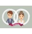 couple cartoon crown wedding icon graphic vector image vector image