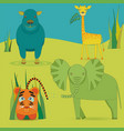 cute africa animals in savanna vector image vector image