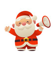 cute cartoon santa claus with megaphone on white vector image vector image