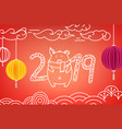 cute pig happy new 2019 year concept vector image
