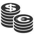 euro and dollar coin columns flat icon vector image vector image