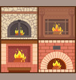 fireplaces made of wood and stone heating types vector image vector image