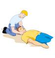 first aid measuring pulse through carotid artery vector image vector image