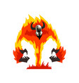 flaming fire devil demonic infernal creature vector image