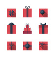 Flat gift box icon set vector image vector image
