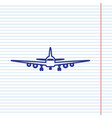 flying plane sign front view navy line vector image