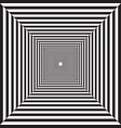 geometric striped tunnel black and white drawing vector image