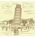 hand drawn of famous tourist destination leaning vector image vector image