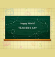 happy teachers day with green chalkboard vector image vector image