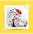 heart flower for love card vector image vector image