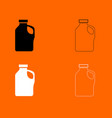 household chemicals black and white set icon vector image vector image