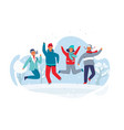 joyful characters friends jumping in snow vector image vector image
