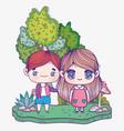 kids cute little boy and girl anime cartoon in vector image