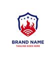 logo design signal fire shield vector image