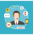 Male call center avatar icon with service icons vector image