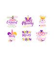 mardi gras logo design templates collection vector image vector image