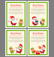 merry christmas and happy new year posters santa vector image