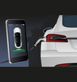 mobile phone with charging electric car vector image vector image